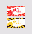 gift card with gift box and rays vector image vector image