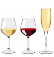 Glass of wine and champagne vector image vector image