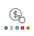 hand click line icon currency exchange sign vector image vector image