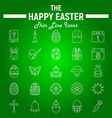 happy easter thin line icon set holiday symbols vector image