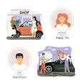 happy man and woman with their cars flat vector image