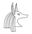 Head of egyptian god Anubis icon outline style vector image vector image