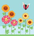 kawaii flowers and bugs vector image vector image