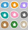 Kettle Icon symbols Multicolored paper stickers vector image