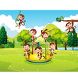 Many monkeys playing in the park vector image vector image