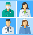 medical icons doctor and nurse avatars vector image vector image
