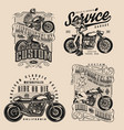 motorcycle vintage monochrome badges vector image vector image
