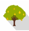 Pear tree with yellow pears icon flat style vector image vector image