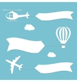 Plane air balloon and helicopter flying with vector image vector image