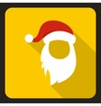 Red hat and long white beard of Santa Claus icon vector image vector image