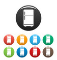 retro fridge icons set color vector image
