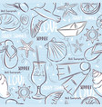 Seamless patterns with summer symbols boat