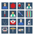 set of medical object flat icon vector image vector image