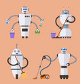 set of robot cleaners vector image