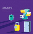 smartphone with icons cyber security vector image vector image