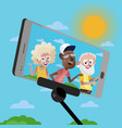 smiling mature persons doing selfie vector image