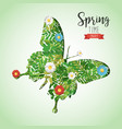 spring time butterfly paper cutout greeting card vector image vector image