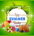 summer holiday banner on green background vector image vector image