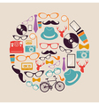 Vintage hipsters icons circle vector image vector image