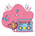 vintage stereo boombox radio music love heart vector image