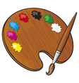 wooden art palette with paints and paint brush