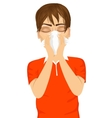 young sick man ill suffering allergy vector image