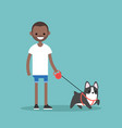 young smiling black man walking the dog flat vector image vector image