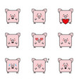 set of funny 9 pigs icons vector image