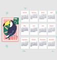 tropical printable calendar 2017 with toucan vector image