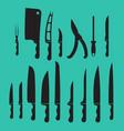 set kitchen knives shadow black vector image