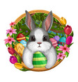 white bunny in frame with eggs and flowers vector image