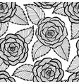 seamless black and white pattern in roses lace vector image