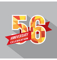 56th Years Anniversary Celebration Design vector image vector image