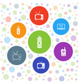 7 channel icons vector image vector image