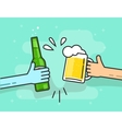 Beer toasting on blue background hands vector image vector image