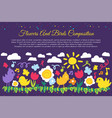 birds and flowers flat banner with copyspace vector image vector image