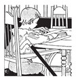 boy reading interested vintage engraving vector image vector image