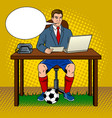 businessman soccer pop art vector image