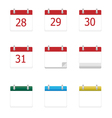 calendar app icons 28 to 31 days vector image vector image