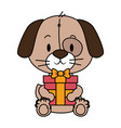 cute little dog character vector image