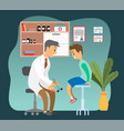doctor doing a physical examination patient vector image vector image