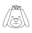 dog with bow cartoon vector image vector image