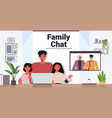father and children having virtual meeting vector image vector image
