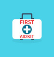 first aid kit isolated on blue background medical vector image