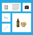 flat icon oneday set of beer with chips vector image vector image