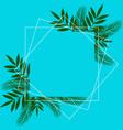 flower frame over blue color editable card vector image