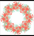 flowers colorful wreath with silhouettes vector image