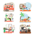 freelance people working on computer from home vector image vector image