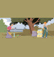 funny people cleaning in park vector image vector image