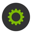 Gear flat eco green and gray colors round button vector image